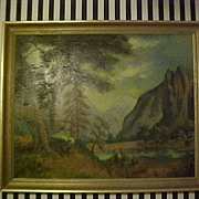 Large Signed Vintage Landscape Oil/Canvas Painting-$20 Off Ship