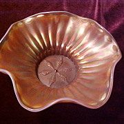 "Excellent Dugan Peach Opal Stippled Flower 8"" Ruffled Bowl"