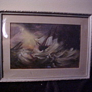 Interesting Vintage Oil on Board Ship in Storm Painting