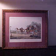 Interesting Re-Framed Colorful Stagecoach Lithograph