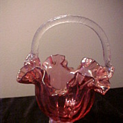 "Nice 9 1/2"" Cranberry&Clear Applied handle Wedding Basket"