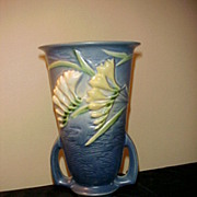 "Wonderful Roseville Blue Freesia 125-10"" 2 Handle Vase"