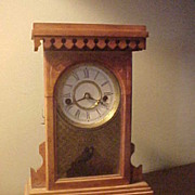 Antique New Haven Kitchen Parlor Clock-Nice Honey Pine Look