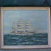 Signed C Hanson Oil on Board Maritime Clipper Ship Varg