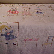 Cute Vintage Goldie Locks & The 3 Bears Childs Size Quilt