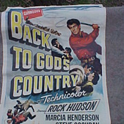"1953's ""Back to Gods Country"" w/ Rock Hudson Movie Poster"