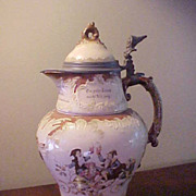 "Awesome Mettlach 13"" Seven Dwarfs Lidded Cider Pitcher"