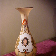 "Nice Early 12"" Bristol Style Peach Portrait Vase"