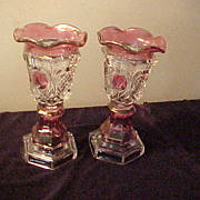 Pair of Excellent Cranberry to Clear Matching Vases