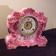 Wonderful Antique Gilbert Porcelain Clock-Runs Perfect