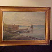 Decent Antique Signed Oil on Board Seascape Painting
