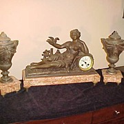 Awesome Antique French 3 Pc Artist Signed Clock Set-Runs Great