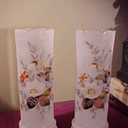"Nice Pair of Early Frosted Bristol Style Hand Painted 11"" Vases"