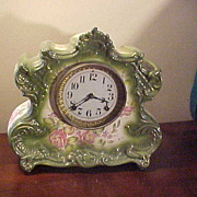 Nice Ansonia Dresden Extra Large Porcelain 8 Day Mantel Clock