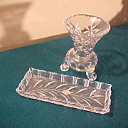 Beautiful Vintage Lead Crystal Vase & Tray-Nachtmann of Germany