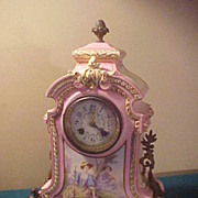 Awesome Artist Signed French Porcelain Antique Clock-Runs Great
