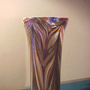 Unusual Large Art Glass Floor Vase - Well Made and Great Colors