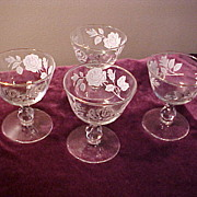 Four Nice Vintage Leaf Wine Glasses- Excellent Condition