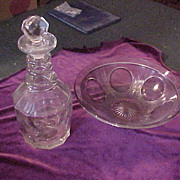 Nice Early Cut Glass Decantor and Vintage Fenton Purple Fruit Bowl