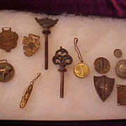 Nice Group of Watch FOBs, Lamp Caps, Medallions, etc