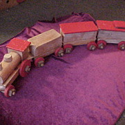Nice Early Wood Play Train Set-Four Cars & All Wood Construction