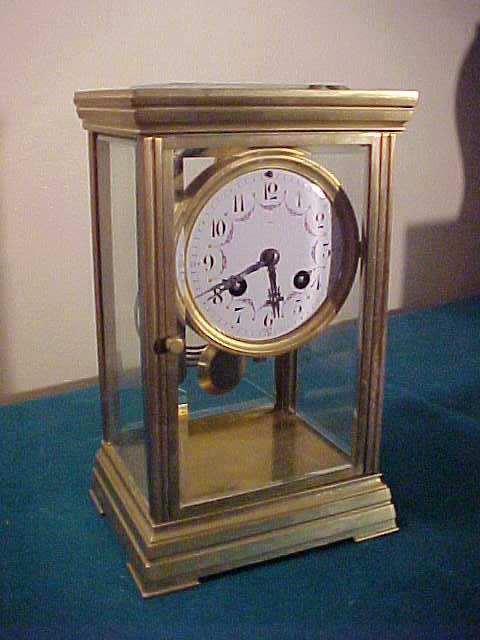 Nice Antique French Crystal Regulator Style 8-Day Chiming Clock