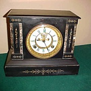 Excellent & Rare Waterbury Open Escapement Slate Clock