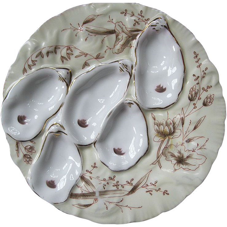 Gilman Collamore & Co Union Square  Porcelain Turkey Oyster Plate With Floral Motif