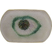 Large Rectangle Majolica Begonia Leaf And Basketweave Platter
