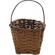 Antique Split Wood Basket With Bent Wood Handle