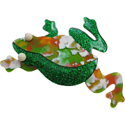 Leaping Frog Pin By French Designer Lea Stein