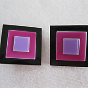 Pair Of Clip Earrings by French Designer Lea Stein