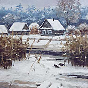 """Thaw"" oil painting of D.Levin - Russian traditional school of realistic painting."
