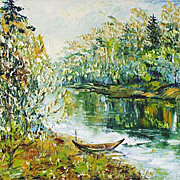 """Green Landscape"" impressionism oil painting of George Velezhev."