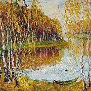 """Gold Landscape "" impressionism oil painting of George Velezhev."