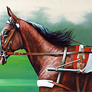 """American trotter - winner"" oil painting of Russian artist E.Parphenov."