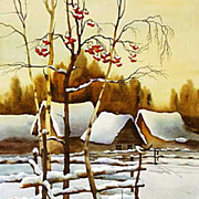 "Original watercolor ""Mountain Ash"" of Russian artist"