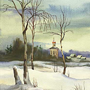 "Original watercolor ""Winter landscape"" of Russian artist"