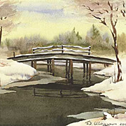 "Original watercolor ""Bridge on winter river"" of Russian artist"