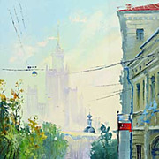 """Chistoprudnyj Boulevard in Moscow"" original oil painting of M. Brovkin."