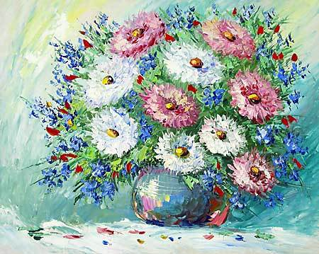 &quot;Still life with chrysanthemums&quot; oil painting of Anuch Amerijn.
