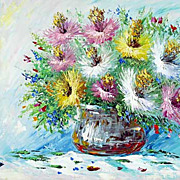 """Still life with rosy asters"" oil painting of Anuch Amerijn."