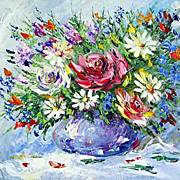 """Bouquet in blue vase"" oil painting of Anuch Amerijn."