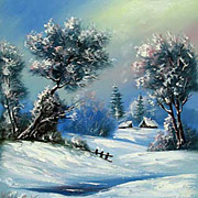"""Winter"" oil painting of Siberian artist Ivan Tolstoj"