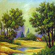 """Goldish landscape"" oil painting of Siberian artist Ivan Tolstoj"
