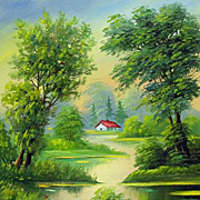 """Summer day"" oil painting of Siberian artist Ivan Tolstoj"