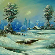 """Forest lodge"" oil painting of Siberian artist Ivan Tolstoj"