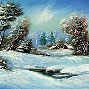 """Winter fairy tale"" oil painting of Siberian artist Ivan Tolstoj"