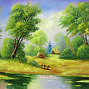 """Forest lake"" oil painting of Siberian artist Ivan Tolstoj"