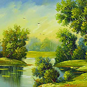 """Birds fly away"" oil painting of Siberian artist Ivan Tolstoj"
